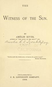 Cover of: The witness of the sun | Amélie Rives