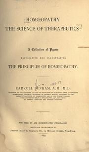 Cover of: Homœopathy ; the science of therapeutics