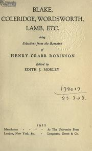 Cover of: Blake, Coleridge, Wordsworth, Lamb, & c