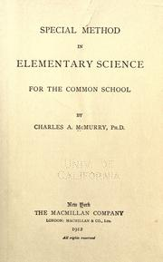 Cover of: Special method in elementary science for the common school