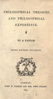 Cover of: Philosophical theories and philosophical experience