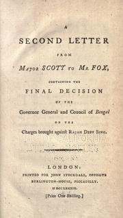 Cover of: A second letter from Major Scott to Mr. Fox