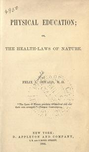 Cover of: Physical education; or, The health-laws of nature