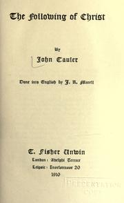 Cover of: The following of Christ