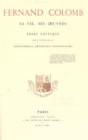 Cover of: Fernand Colomb: sa vie, ses œuvres