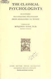 Cover of: The classical psychologists | Benjamin Rand