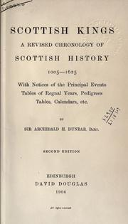 Cover of: Scottish kings | Dunbar, Archibald Hamilton Sir