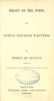 Cover of: Essays on the poets: and other English writers.