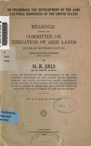 Cover of: To encourage the development of the agricultural resources of the United States