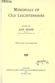 Cover of: Memorials of old Leicestershire