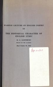 Cover of: The historical character of English lyric