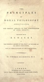 Cover of: The principles of moral philosophy investigated