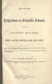 Cover of: Notes on polytechnic or scientific schools in the United States by