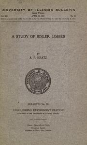 Cover of: A study of boiler losses