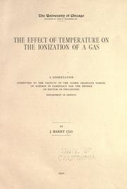 Cover of: The effect of temperature on the ionization of a gas ..