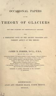 Cover of: Occasional papers on the theory of glaciers
