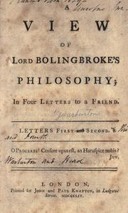 Cover of: A view of Lord Bolingbroke's philosophy