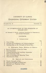 Cover of: An investigation of the strength of rolled zinc