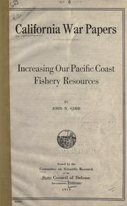 Cover of: Increasing our Pacific Coast fishery resources