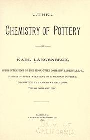Cover of: The chemistry of pottery