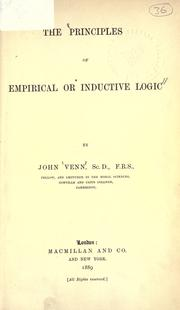 Cover of: The principles of empirical or inductive logic