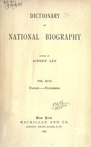 Cover of: Dictionary of national biography |
