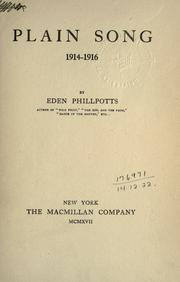 Cover of: Plain song, 1914-1916