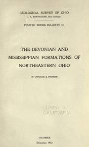 Cover of: The Devonian and Mississippian formations of northeastern Ohio