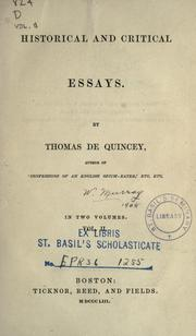 Cover of: Historical and critical essays