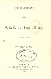 Cover of: Recollections of the table-talk of Samuel Rogers