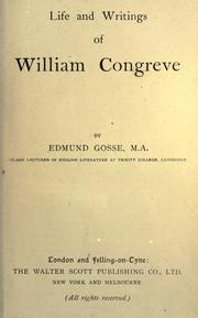 Cover of: Life and writings of William Congreve