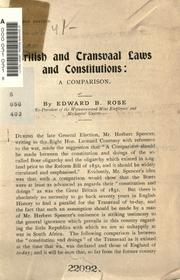 British and Transvaal laws and constitutions by Edward B. Rose