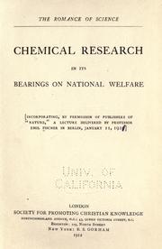 Cover of: Chemical research in its bearings on national welfare