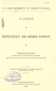 Cover of: Papers on hortcultural and kindred subjects