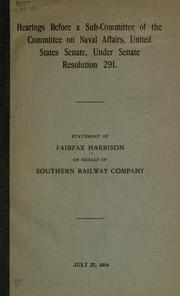 Cover of: Hearing before a subcommittee of the Committee on Naval Affairs