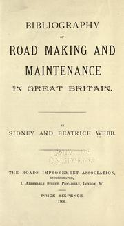 Cover of: Bibliography of road making and maintenance in Great Britain
