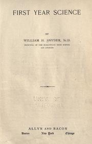 Cover of: First year science