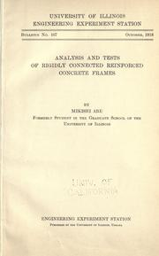 Cover of: Analysis and tests of rigidly connected reinforced concrete frames