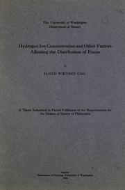 Cover of: Hydrogen ion concentration and other factors affecting the distribution of Fucus