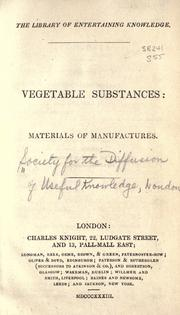 Cover of: Vegetable substances