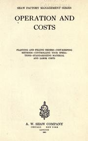 Cover of: Operation and costs by