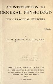 Cover of: An introduction to general physiology, with practical exercises