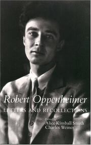 Cover of: Robert Oppenheimer, letters and recollections | J. Robert Oppenheimer