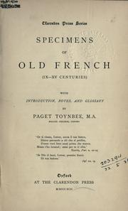 Cover of: Specimens of Old French, 9-15 centuries