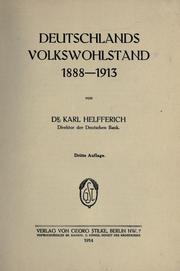 Cover of: Deutschlands Volkswohlstand 1888-1913