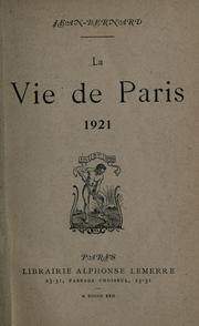 Cover of: La vie de Paris, 1921