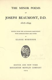 Cover of: The minor poems of Joseph Beaumont | Joseph Beaumont