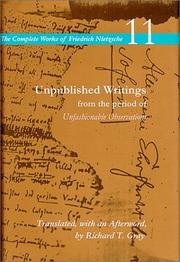 Cover of: Unpublished writings from the period of Unfashionable observations | Friedrich Nietzsche