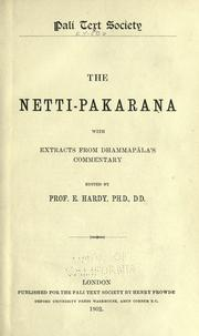 Cover of: The Netti-pakarana by edited by E. Hardy