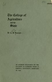 Cover of: The college of agriculture and the state